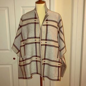 Loft plaid poncho sweater